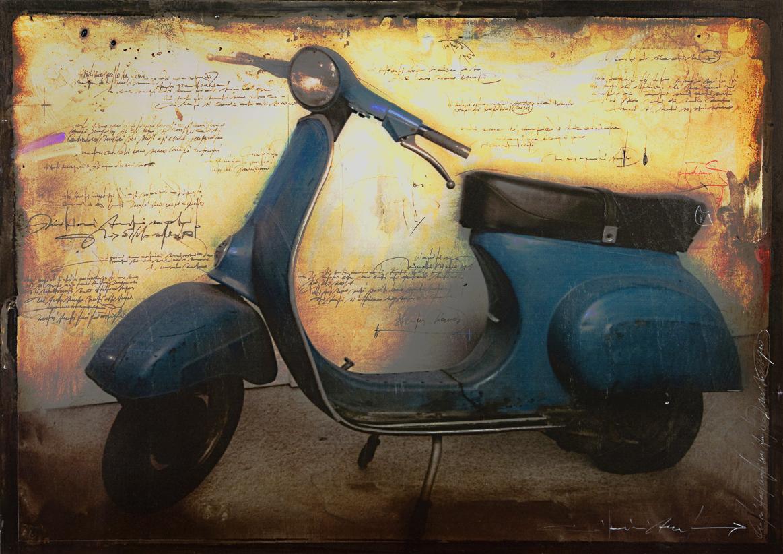 Giovanni Sesia, Moto Vespa, Pittura su fotografia, 100x140, 2011
