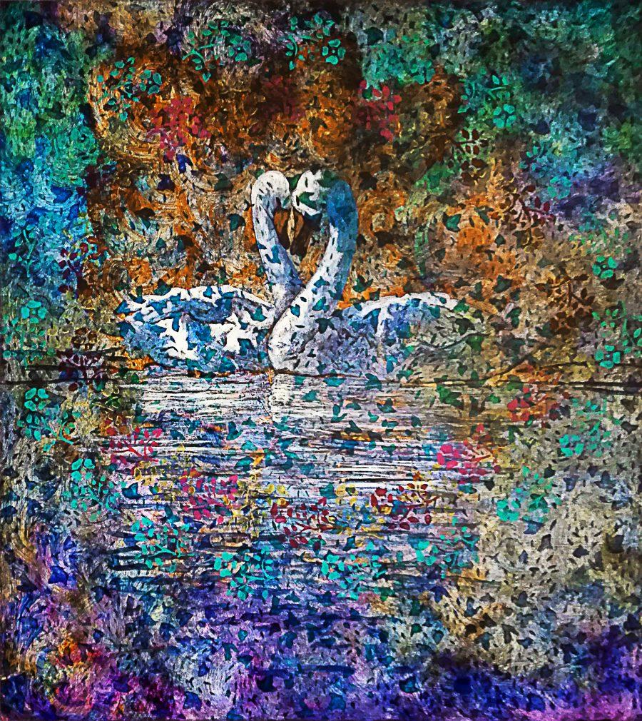 Giampiero Viglino, Cigni (Love's Blues), Tecnica mista su tavola, 101x90, 1998
